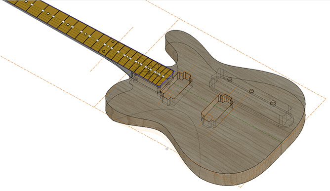 Electric guitar designed using CAD software