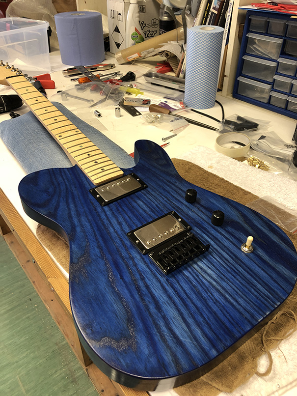 The final assemble stage of the custom guitar build