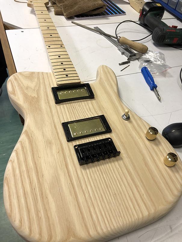 Custom guitar pre assembly